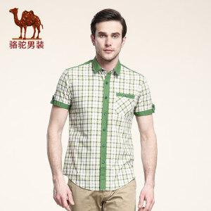 骆驼男装 夏季短袖衬衫 青年男士韩版纯棉衬衫 薄款绿色格子寸衫