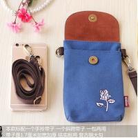 新款手机包女斜挎包迷你韩国帆布竖款复古布艺手提零钱包5.5寸6小包包 每个包包都配有长短2根带子 皮盖款