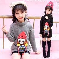 百槿 冬季女童加绒高领卡通女孩厚款针织打底衫 中大童身高100-160可穿厚款针织打底衫
