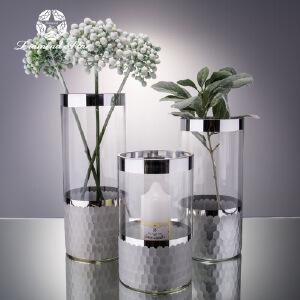 【限时领券直减50】幸阁 插花干花银环透明玻璃花瓶 饰家彩色玻璃花瓶