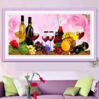 5d钻石画葡萄酒杯满钻石绣2019新款客厅点钻十字绣玫瑰花餐厅水果