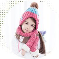 儿童帽子围巾手套三件套护耳保暖加绒秋冬套装男女童