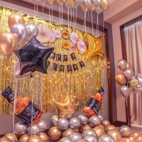 生日派对装饰气球生日布置创意黑金背景墙宴会装饰黑金气球男朋友派对生日套餐
