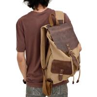 旅行包双肩包帆布配头层牛皮行李包背包男士帆布包书包