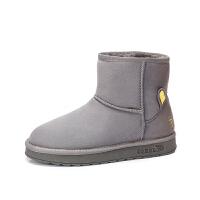 camel骆驼女鞋冬季新品加绒棉鞋纯色简约短筒靴保暖雪地靴