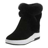 2018冬季新款内增高短靴女雪地靴真皮加绒厚底兔毛女靴保暖棉靴女