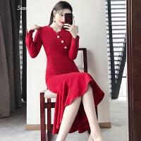 2018新款女装春装性感红色连衣裙修身气质礼服中长款包臀鱼尾长裙