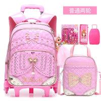 儿童拉杆书包女孩1-3-5-6年级4韩版可爱公主双肩包6-12周岁pu防水