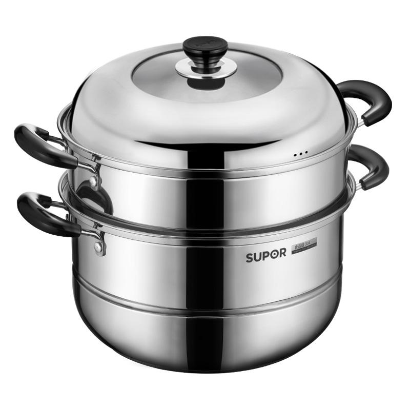 苏泊尔不锈钢锅蒸锅2层大锅具304不锈钢双层加厚电磁炉通用SZ30B5