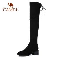 骆驼新款秋冬季女鞋子高跟弹力长筒靴粗跟高筒过膝靴