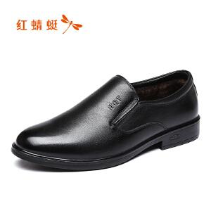 红蜻蜓男鞋2017冬季新品商务休闲男棉鞋舒适加绒低帮套脚皮鞋正品