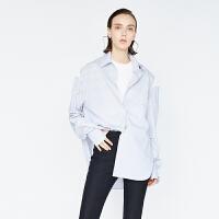 DAZZLE地素 17冬专柜新款 条纹显瘦不规则下摆露肩衬衫 2A4C4672R