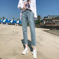高腰九分牛仔裤女2018夏季韩版宽松初恋阔腿复古港味直筒裤子
