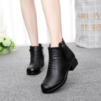 女靴子冬新款女鞋软底雪地靴粗跟棉皮鞋妈妈大码棉靴子低跟短靴加绒冬靴