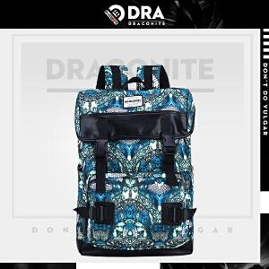 【支持礼品卡支付】DRACONITE韩版翻盖锁扣书包蚊虫魔鬼抽象印花大双肩背包男女11708