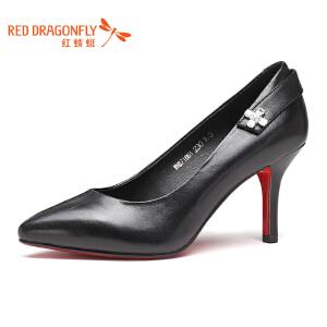 红蜻蜓女鞋2017秋季新款羊皮细跟高跟浅口尖头水钻女单鞋子