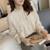 春2018新款蕾丝衫女长袖钉珠半高领宽松内搭纯色打底衫上衣4341