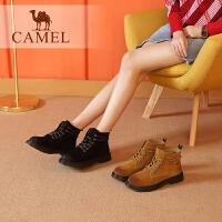 camel骆驼女鞋冬季新款马丁靴 时尚百搭短靴女英伦风粗跟系带女靴