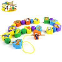 100粒动物连连看串珠穿绳儿童益智早教类启蒙学习木制玩具