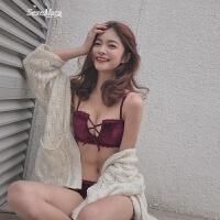 本命年红色内衣女绒面性感无钢圈聚拢胸罩调整文胸
