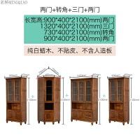 实木书柜带玻璃门美式复古白蜡木多功能展示书橱储物柜子原木家具 1.2-1.4米宽