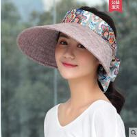 田园帽子遮阳帽时尚女凉帽户外百搭防晒逛街可折叠韩版妈妈大沿帽