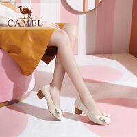 camel骆驼单鞋女2019新款 中跟单鞋女舒适优雅真皮女鞋休闲粗跟单鞋女