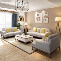 北欧沙发客厅大小户型简约现代布艺沙发组合三人位可拆洗整装家具 胡桃色 胡桃色 +茶几1.2米+电视柜1.8米