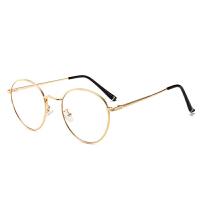明星同款平光镜复古圆框金丝防蓝光电脑眼镜框男女潮 金色 收藏送镜链镜盒