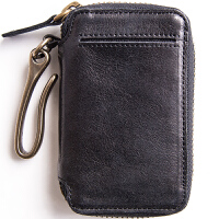 埋不烂 头层牛皮汽车钥匙包男士真皮钥匙扣带卡位 可放驾照Q56 黑色(善于接受真皮的不) (请阅读温馨提示)