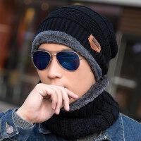 时尚保暖针织套头帽男 韩版毛线帽潮加厚套头帽子 男士包头帽围脖棉帽男帽