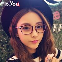 精致十字花装饰平光镜复古大框眼镜框眼镜架男女时尚潮人眼睛