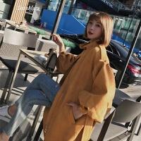 风衣女中长款韩版春季2018新款黄色立领chic灯笼袖风衣外套潮 将军黄 S