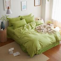 君别酒红色床单四件套纯色紫红净色单色简约夏季被套床上深色棉棉