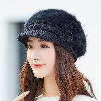 时尚百搭保暖贝雷帽女 新款潮毛线针织鸭舌帽 韩版女士纯色兔毛帽子