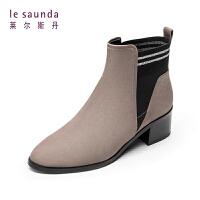 莱尔斯丹 秋冬新款圆头套筒短靴女靴切尔西靴中跟女45506