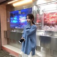 秋冬季韩版慵懒风套头毛衣女宽松圆领长袖上衣糖果色厚针织衫外套 均码