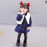 女宝宝加绒连衣裙0-1-2-3岁女童天加厚裙子婴儿马甲公主裙装
