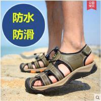 战地吉普 凉鞋男 真皮透气运动户外男士沙滩鞋防水包头凉鞋潮A3944