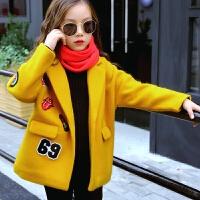 女童毛呢子外套秋装2017新款中大童加厚呢大衣女孩韩版夹棉上衣 黄色