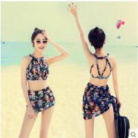 女 三件套泳衣 清新浪漫沙滩比基尼 性感露背 小胸聚拢 分体式 京剧印花式 泳装