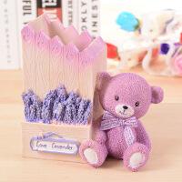 520情人节礼物创意欧式紫色薰衣草小熊笔筒 情侣互赠礼品 时尚书桌摆件学生礼物