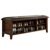 鞋凳 实木美式实木换鞋凳储物凳穿鞋凳玄关凳欧式门厅鞋凳床前凳鞋柜凳鞋架