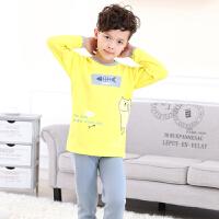 男孩加厚加绒内衣套装宝宝不倒绒装中小童保暖发热内衣 黄色 黄猫加绒套装