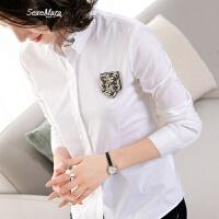 新款时尚韩版白色职业女士衬衫长袖2018春装v领上衣夏季衬衣女装 白色