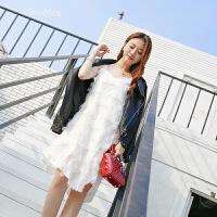 2018新款白色无袖V领雪纺连衣裙女气质流苏不规则性感吊带中长裙