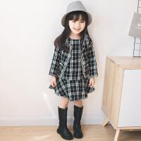 童话元素 女童洋气套装2018春装新款小香风格子连衣裙两件套装女宝宝外套潮 黑白格