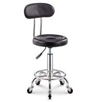 吧台椅酒吧椅子旋转升降靠背家用高脚凳圆凳子时尚创意美容凳转椅 米白色 黑色靠背铁轮款
