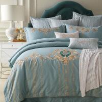 欧式贡缎长绒棉刺绣四件套全棉棉1.8m床笠蓝六件套美式床上用品