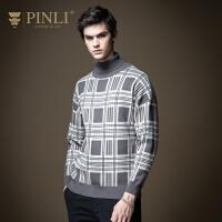 PINLI品立2020秋季新款男装格子高领套头针织衫毛衣男B203410609